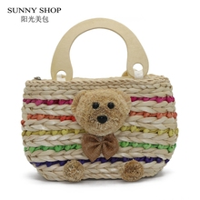 SUNNY SHOP 2018 New Straw Bags Women Travel Beach Knitting Woven Handbags With 3D Bear Cute Tote Bag For Girls Christmas Gifts(China)