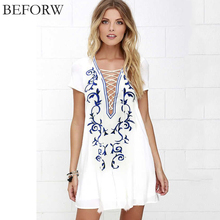 BEFORW Women Dress Deep V Collar Printed Chiffon Short Sleeve White Loose Dresses Big Size Women Clothing Casual Mini Dress