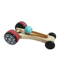 Wood play wooden children's educational toys car rubber band back car wooden inertia