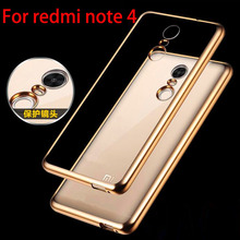 For Redmi Note 4 Pro Case Luxury Gold Plating Crystal Clear TPU Case For Xiaomi Redmi Note 4 Pro Prime Silicon Back Cover Cases