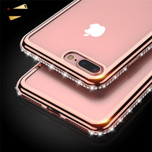 For iPhone 6 Cases, KISSCASE Luxury Plating Rhinestones Phone Cases For iPhone 6 6s Plus 7 7 Plus 5 5s SE Ultra Thin Phone Cover
