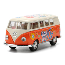 1:32 KINSMART Volkswagen Bus Car Toy Die cast & ABS VW Cars Model With Painting Doors Openable Van Kids Toys Juguets Graffiti(China)