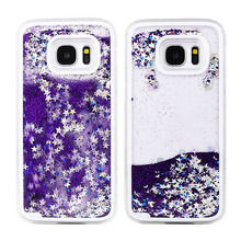 S7&S7 edge Fun Glitter Star Flowing Water Liquid Plastic Case For Samsung Galaxy S7 edge Transparent Clear Cover For Samsung S7