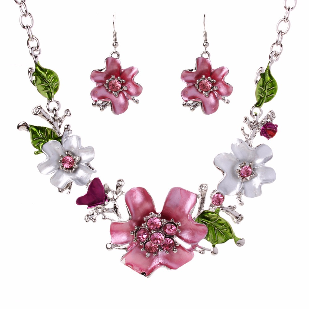 Pendant Necklace Earrings Jewelry-Sets Costume Flower Crystal Romantic Pink French Women title=