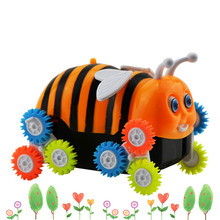 New electric toy car small bee 12 round dump truck automatic flip children electric car toys