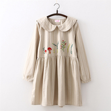 Females New Spring Vintage Flowers Fox Embroidery Long Sleeve Strips Khaki Black Cotton Girl's Preppy Style Japan Cute Dresses