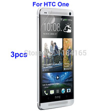 PET 3pcs/Lot Front Transparent LCD Screen Guard Protectors for HTC ONE M7/HTC One Dual Sim Glossy Film Quality