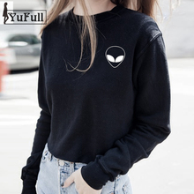 2017 Harajuku FALL Casual Tumblr Sweatshirt Women Full Sleeve Hoodies O-neck Pullover Alien Print Black Hooded Sudaderas Mujer(China)