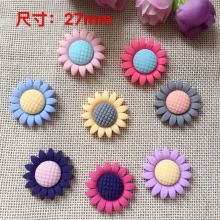 27mm Mixed models Resin Sun flower, Resin Flat back Cabochons for Hair Bow Center, Crafts Making, DIY, Jewelry Accessory(China)