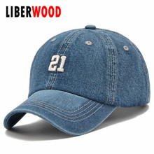 Denim Solid Blue Jeans 21 Baseball Hat Cap Cowboy Dad Hat Curved Ball Cap USA Distressed Vintage look
