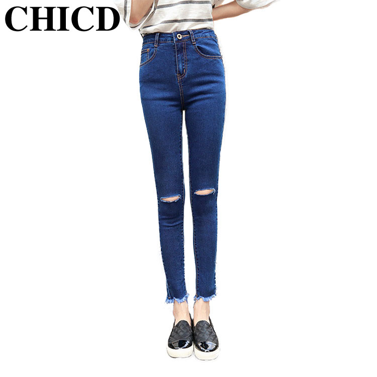 CHICD Women Fashion Jeans 2017 Blue Black Elastic Frayed Hole Long Skinny Slim Jeans Trousers for Women Pencil Pants XP317Одежда и ак�е��уары<br><br><br>Aliexpress