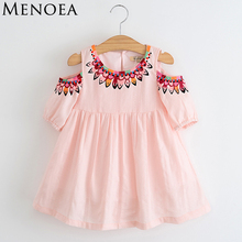Menoea Girls Dress 2017 Summer Cute Style Princess Dress Children Clothing Half Sleeves pattern Design for Girls Clothes 3-7Y