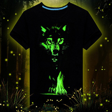 Cool 3D Wolf Cotton Glow in The Dark Luminous Short Sleeve T-Shirt Tee Top 09WG(China)