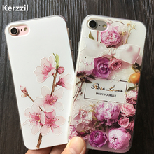 Kerzzil Plum blossom Roses Printed Flowers Case For iPhone 6 6s 7 Plus Soft TPU Flowers Cases Capa For iPhone 7 6 6s Cover Coque(China)