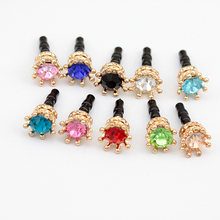 200pcs/lot Colorful Crystal Elegant Crown Shape For Iphone For Samsung And For All 3.5MM Universal Earphone Anti Dust  Plug