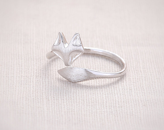 Jisensp Fashion Fox's Head Ring Cute Animal Open Fox Ring Women Party Gift Simple Lovely Ring Fox Wedding Gifts Mens Jewelry