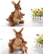 NICI plush toy stuffed doll cartoon Australia animal brown Kangaroo Mother & son Parent child baby gift Christmas present 1set