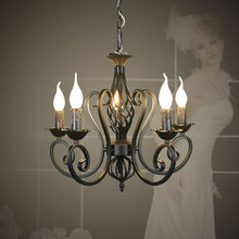For Foyer living room bedroom dinning room use modern vintage 5 arms classical Iron matt black with candle light chandelier