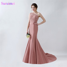 Long Mermaid Blush Brown Evening Dresses One Shoulder Floor Length Lace Evening Gown with Sash On Sale