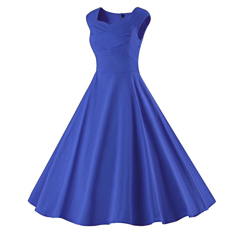 Kostlich 6 Color Retro Summer Dress Women 2017 Sleeveless Hepburn 50s Vintage Dress Elegant Big Swing Rockabilly Party Dresses (19)