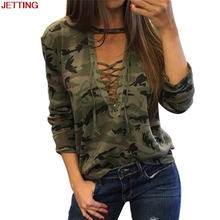JETTING-2017Women Sexy Shirt Camouflage V Neck Lace Up Halter Top Shirt Lady Loose Bandege Camo Tee Tracksuit Female Sudadera(China)