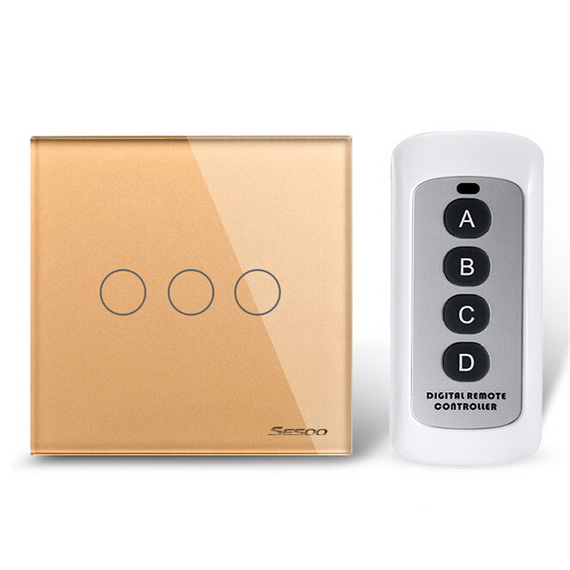 EU/UK Standard 3Gang/2Gang/1Gang 1 Way Wireless Remote Control Light Switches,220V Touch Switch,RF433 Wall Switch for Smart Home<br>