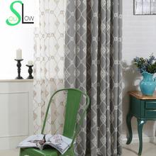Slow Soul Modern Cotton Curtain French Window Gray Light Blue Beige Floral Curtains For Living Room Bedroom Organza Embroidered