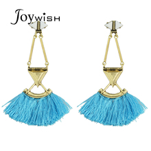 Bohemian Style Ethnic Jewelry Bronze with Blue Hotpink Tassel Earrings Big Statement Drop Earrings for Women From India(China)