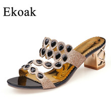 Ekoak Size 36 41 New 2018 Summer Fashion Rhinestone Cut outs Women High  Heel Sandals Ladies Party Dress Shoes Woman -in High Heels from Shoes on ... 42947ebba074