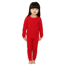 Baby Girls Pajamas Solid Color Autumn Winter Thermal Underwear Tops+Pants Elastic Waistband Warm Sleepwear Tracksuit Clothes(China)