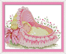 Joy sunday cartoon style The baby in the cradle leisure arts cross stitch embroidery designs patterns mini for christmas gifts