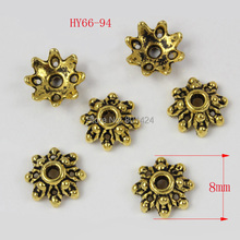 free shipping 150pcs 66-94 fit 8mm metal beads tibetan Antique StyleTone Small Flower antique gold plated spacer beads caps(China)