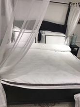 100% Cotton luxury 60S Jacquard fabric 4pcs white hotel duvet cover set with embroidered edge bedlinen