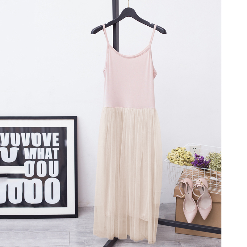 [EAM] 2017 Hot Fashion Pure Cotton Lace Split Joint Camisole Dress,5 colors available YD8100 9