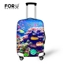 3D Zoo Fishes Print Travel Luggage Cover Apply to 18-28 inch Suitcase Thicken Elastic Large Size Baggage Cover Dustproof Cover