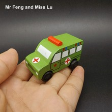 Small Ambulance Military Vehicle Wooden Car Model Toys Kids(China)