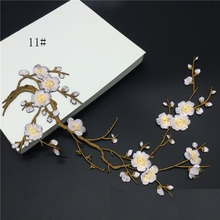 Han Noble Plum Flowers Embroidery Patches Sticker for Clothes Wedding Decor Dress Iron on Sewing Applique Suppliers P058 1pc(China)