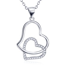 GNX9881 YFN 925 Sterling Silver Charming Necklace Double Cross Love Heart Crystal Pendant Romantic Jewelry For Women Necklaces