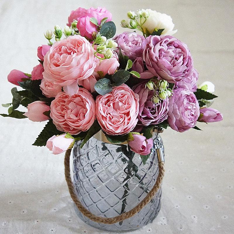 Grosshandel 1 Bund Kunstliche Seide Rose Pfingstrose Blumen 5 Kopfe