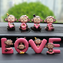 Fashion Car Styling Cartoon Love Banana Monkey Doll Car Decoration Auto Dashboard Car Interior Accessories Craft Ornaments Gift(China)