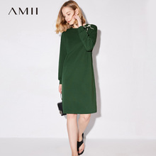 Amii Minimalist Casual Women Dress 2017 Crewneck Patterned Knee High Long Sleeve Straight Dresses(China)
