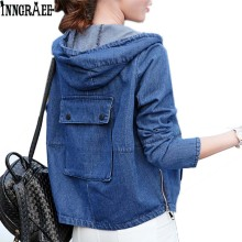 Inngraee Autumn spring women cute back pocket denim jacket female loose Hooded zip Baseball Jacket coat NS3090