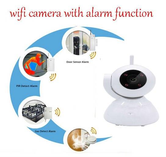 Wi-Fi Wireless IP Security Bullet Camera Video Monitoring LINKAGE ALARM SYSTEM+Pir sensor+Door sensor+Smoke detector<br>