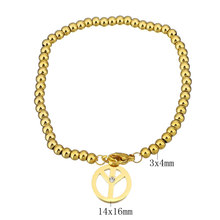 YYW Stainless Steel Jewelry Bracelet Peace Logo Gold-color charm bracelet for woman with rhinestone Approx 7 Inch Strand