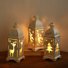 Vintage Metal Tower Shape Tree Deer Angel Hollow Texture Candle Holder Tea Light Tealight Holders Christmas Holiday Gift(China)