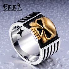 Men's Punk Biker Motorcycle Skull Skeleton Ring Gothic Style Jewelry Stainless Steel BR8-112 US Size