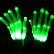 Halloween Pair of Colorful LED Gloves Rave Light Finger Lighting Flashing Gloves Unisex skeleton Rave Party Glove(China)
