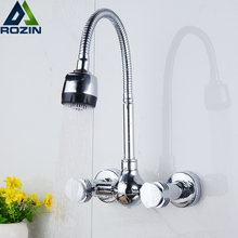 Walll Mounted Flexible Hose Dual Handle Kitchen Sink Faucet Chrome Stream Sprayer Functions Showerhead Kitchen Mixer Taps(China)