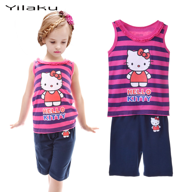 2017 Kids Pajamas Hello Kitty Striped Pajamas Sets Girls Cartoon Animals Printed Vest Pyjamas Suit 3 Types Design CF225(China)