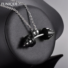 FUNIQUE Charms Stainless Steel Sports Barbell Dumbbell Charm Pendant For DIY Women Men Necklace Jewelry Making 17mm*49mm
